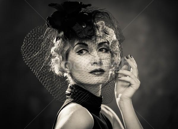 Monochrome Bild eleganten blond Retro Frau Stock foto © Nejron
