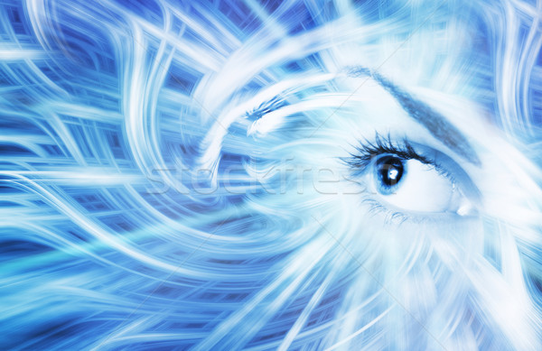 Human eye on blue abstract background Stock photo © Nejron
