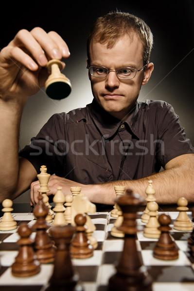 Xadrez mestre inteligente mover branco Foto stock © Nejron