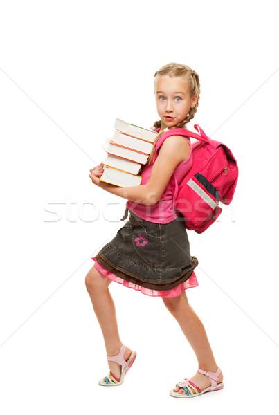 Stockfoto: Gelukkig · schoolmeisje · zwaar · boeken · meisje