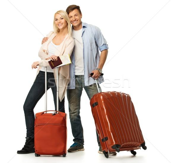 Foto stock: Feliz · Pareja · maletas · mapa · mujer · hombre