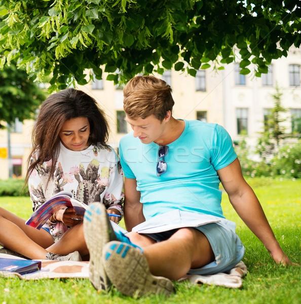 Többnemzetiségű diákok pár végső vizsgák város Stock fotó © Nejron