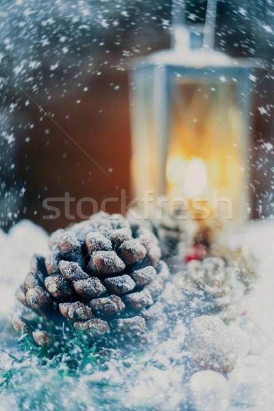 Рождества натюрморт фонарь снега свет зима Сток-фото © Nejron