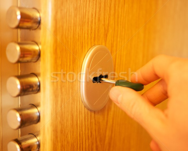 Hand opening the door Stock photo © Nejron