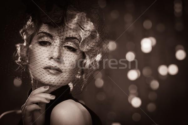 Bild eleganten blond Retro Frau tragen Stock foto © Nejron