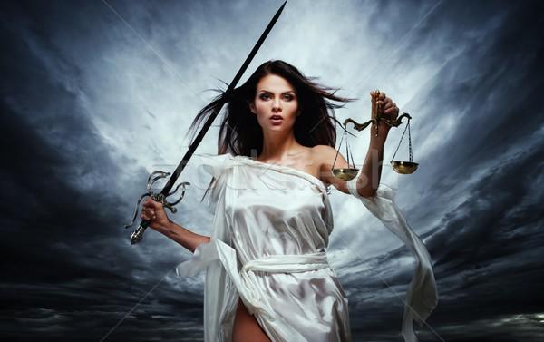 Сток-фото: богиня · правосудия · Весы · меч · драматический · бурный
