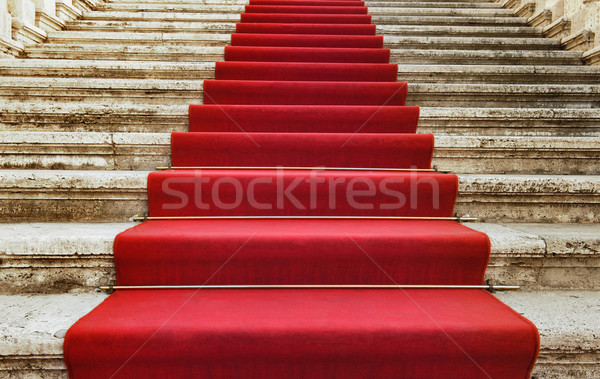 Ancient stairs covered with red carpet Stock photo © Nejron