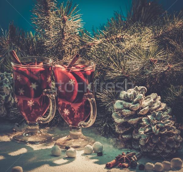 Sıcak şarap Noel natürmort kış Stok fotoğraf © Nejron