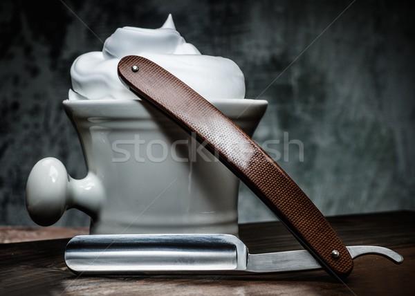 Kom rechtdoor scheermes houten gezicht man Stockfoto © Nejron