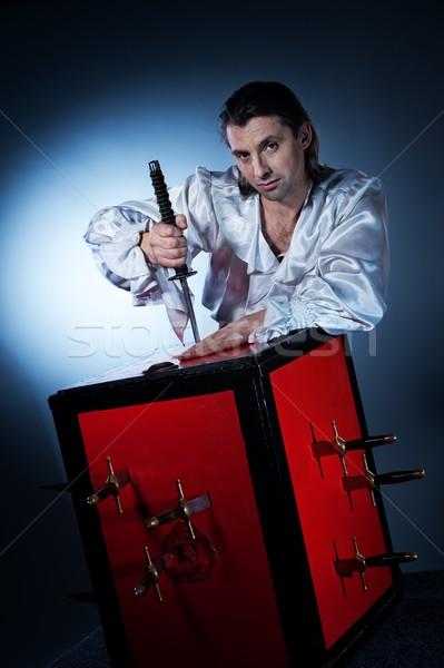 Kılıç kutu yanılsama portre tiyatro sirk Stok fotoğraf © Nejron
