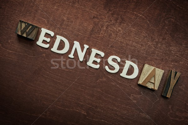 The word wednesday written on wooden background Stock photo © Nejron