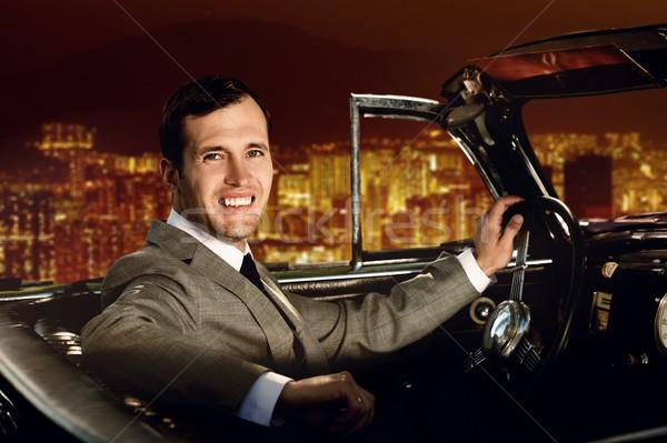 Сток-фото: человека · вождения · ретро · автомобилей · бизнесмен · городского