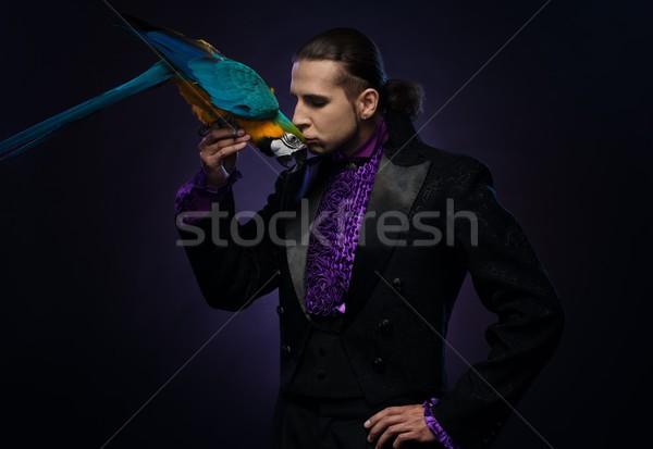 Fiatal jóképű barna hajú bűvész férfi színpad Stock fotó © Nejron