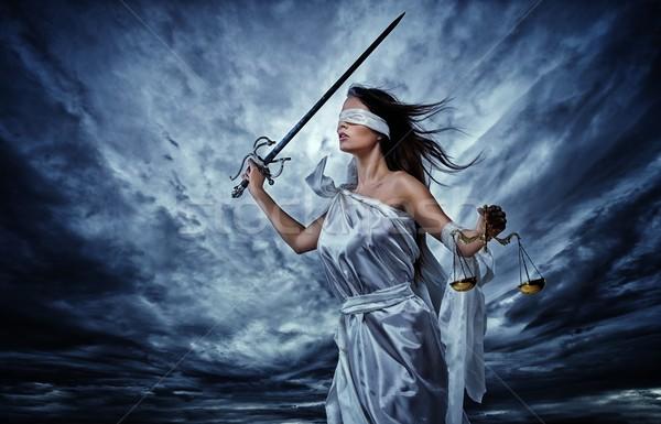 Сток-фото: богиня · правосудия · Весы · меч · драматический