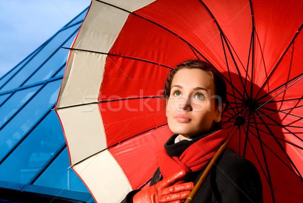 Hermosa rojo paraguas lluvioso día Foto stock © Nejron