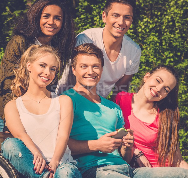 Multi ethnic group of teenage friends in a park  Stock photo © Nejron