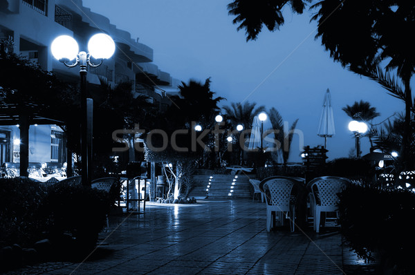 Hotel at night (toned in blue) Stock photo © Nejron