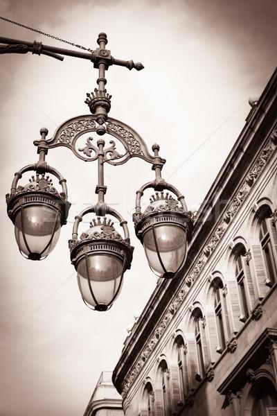 Szépia kép gyönyörű utca Barcelona ház Stock fotó © Nejron