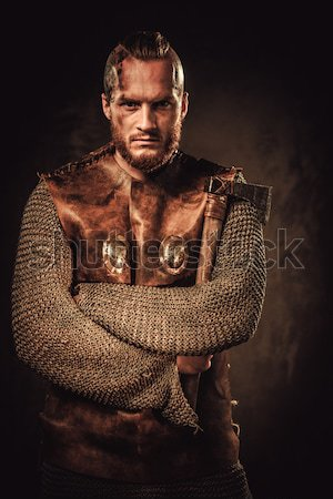 Wounded gladiator holding sword covered in blood with both hands Stock photo © Nejron