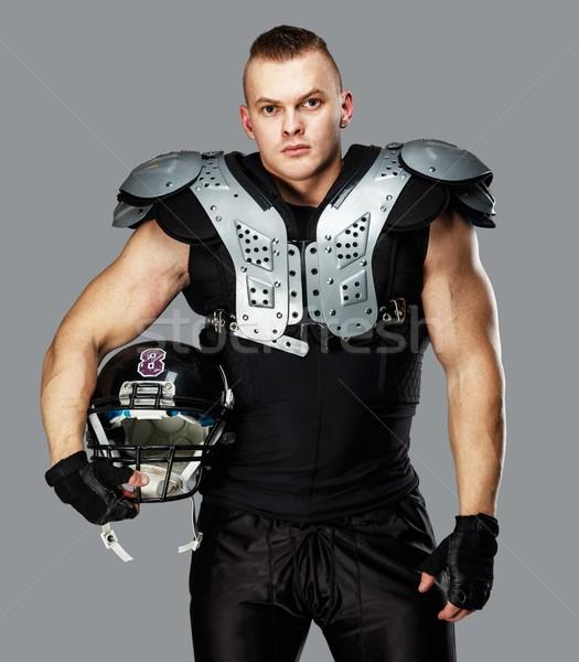 Amerikaanse voetballer helm pantser sport sport Stockfoto © Nejron