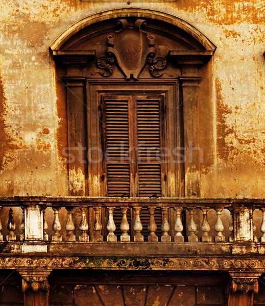 Klasszikus ablak erkély textúra otthon háttér Stock fotó © Nejron