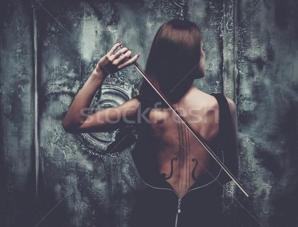Nő ruha hegedű testművészet tart íj Stock fotó © Nejron