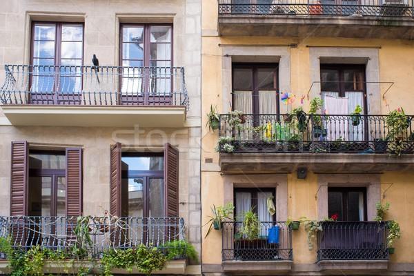 Building facade with beautiful balconies  Stock photo © Nejron