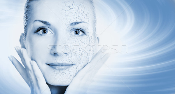 Girls face with half healthy and half itchy, dry skin Stock photo © Nejron