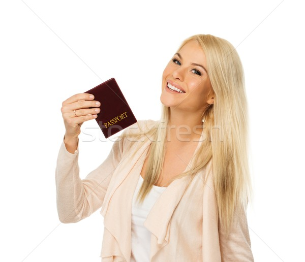 Feliz rubio mujer pasaporte nina pelo Foto stock © Nejron