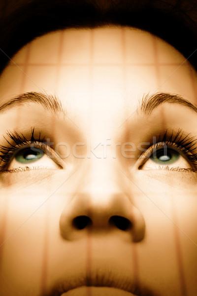 Sepya resim güzel kız yeşil gözleri yüz doğa Stok fotoğraf © Nejron