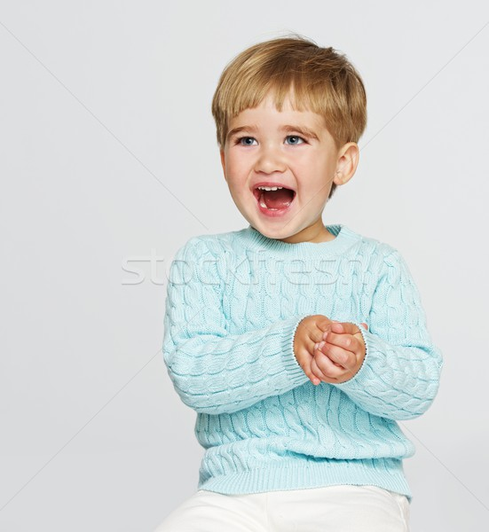 Happy baby boy in blue pullover Stock photo © Nejron