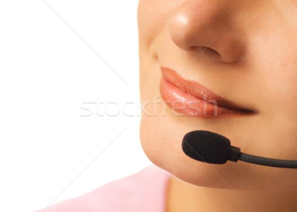 красивой горячая линия оператор гарнитура изолированный белый Сток-фото © Nejron