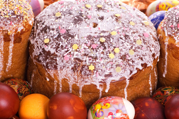 Easter eggs and easter cake close-up shot Stock photo © Nejron