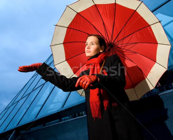 美しい 若い女性 赤 傘 雨の 日 ストックフォト © Nejron