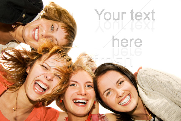 Group of happy friends making funny faces Stock photo © Nejron
