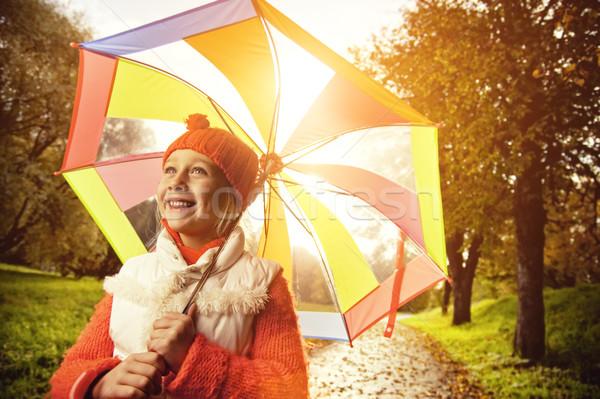 Stok fotoğraf: Güzel · küçük · kız · renkli · şemsiye · küçük · orman