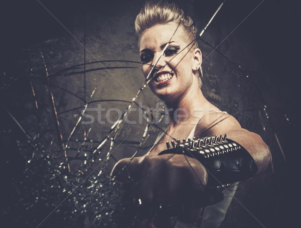 Punk fille verre laiton visage guerre Photo stock © Nejron