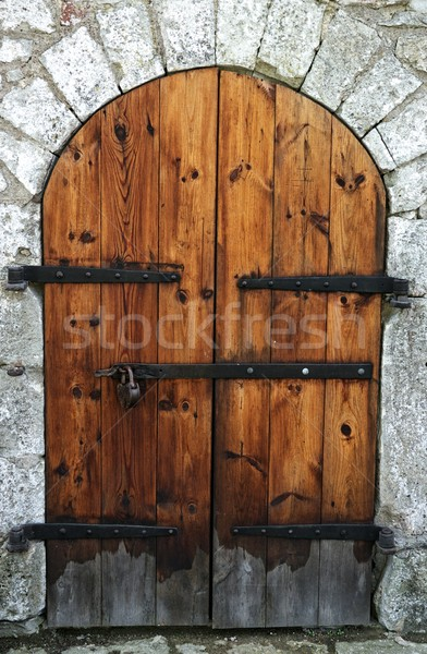 Old wooden door in a stone wall. Stock photo © Nejron