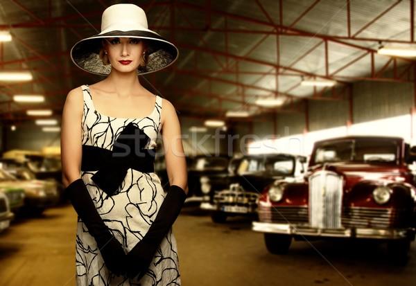女性 帽子 レトロな ガレージ ファッション 黒 ストックフォト © Nejron