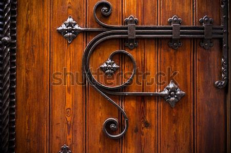 Wooden door with metal decoration Stock photo © Nejron
