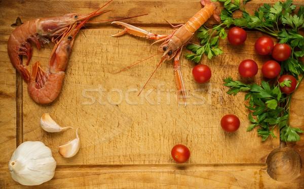Zeevruchten maaltijd voorbereiding procede voedsel gezondheid Stockfoto © Nejron
