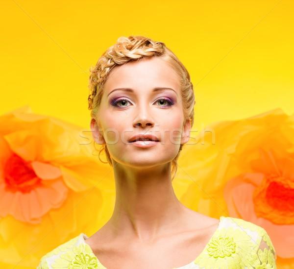 美しい 若い女性 化粧 ビッグ 黄色の花 女性 ストックフォト © Nejron