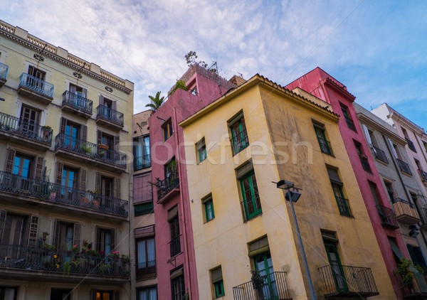 Buildings with balconies full of plants Stock photo © Nejron