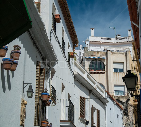 Stock photo: Narrow streets in town of Sitges, Spain