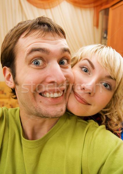 Komik çift kadın gülümseme göz yüz Stok fotoğraf © Nejron