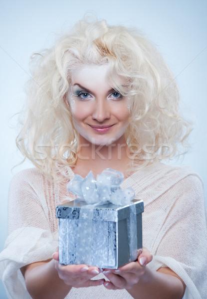 Schönen Schnee Königin Weihnachten Feld Frau Stock foto © Nejron