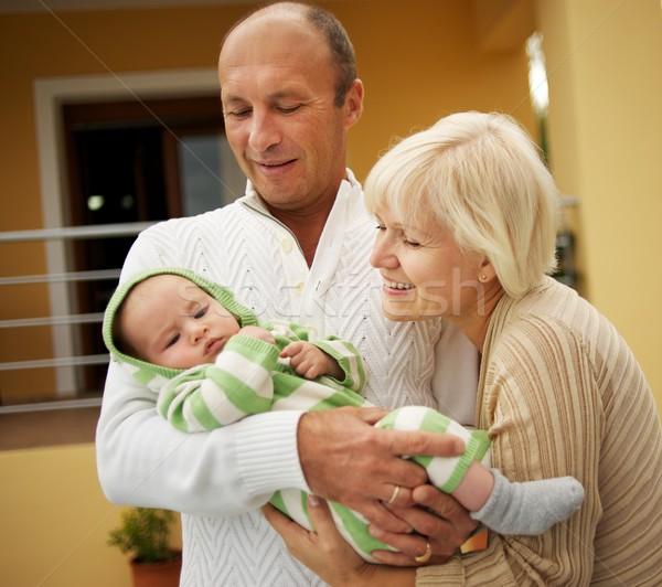 Nagyszülők unoka család baba háttér anya Stock fotó © Nejron