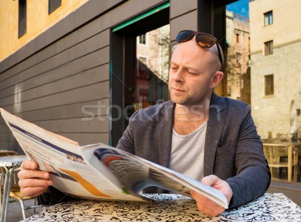 男 読む 新聞 後ろ 表 ストックフォト © Nejron