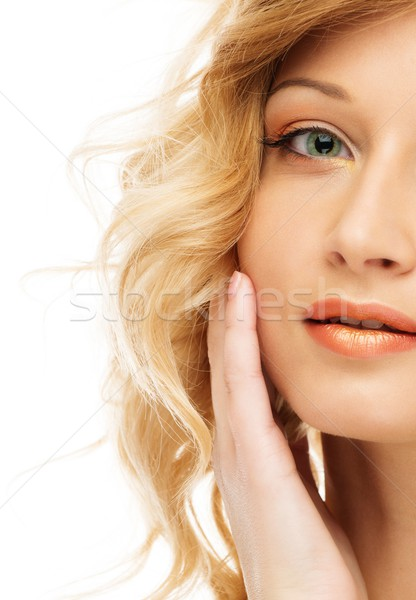 Beautiful blond young woman face isolated on white  Stock photo © Nejron