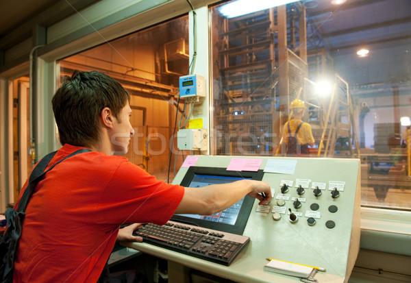 Gyár kezelő építkezés munka fém szoba Stock fotó © Nejron